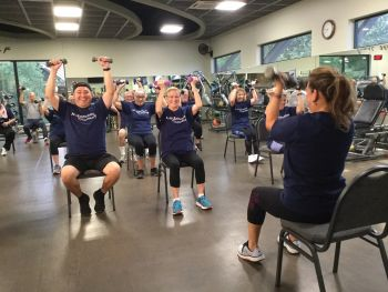 A group exercise class at the gym.